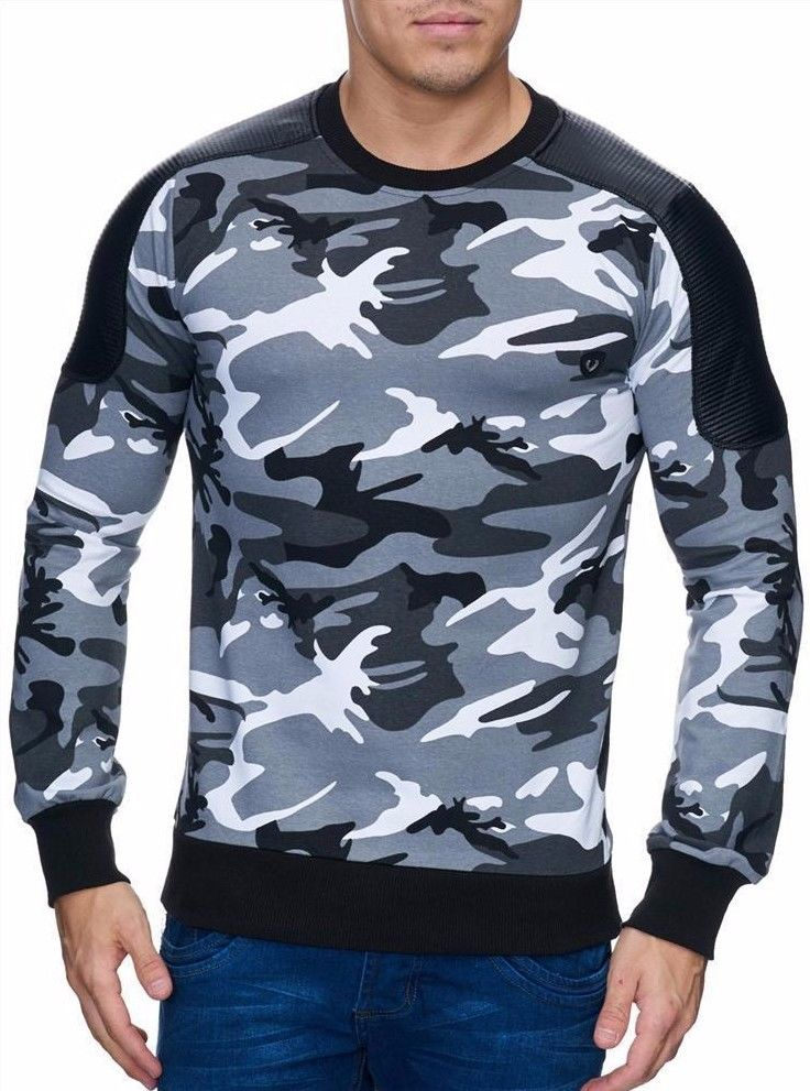 cbn sweatshirt herren camouflage pullover sweater pulli. Black Bedroom Furniture Sets. Home Design Ideas