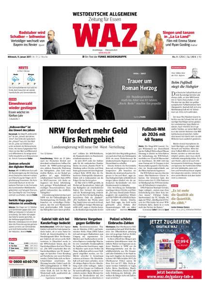Cover: Waz Westdeutsche Allgemeine Zeitung 11 Januar 2017