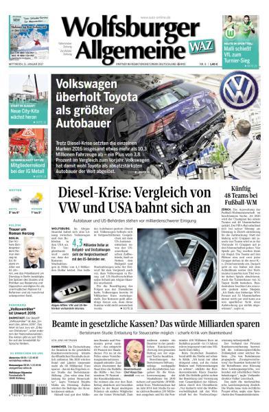 Cover: Wolfsburger Allgemeine Zeitung 11 Januar 2017