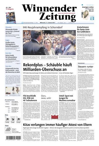 Cover: Winnender Zeitung 11 Januar 2017