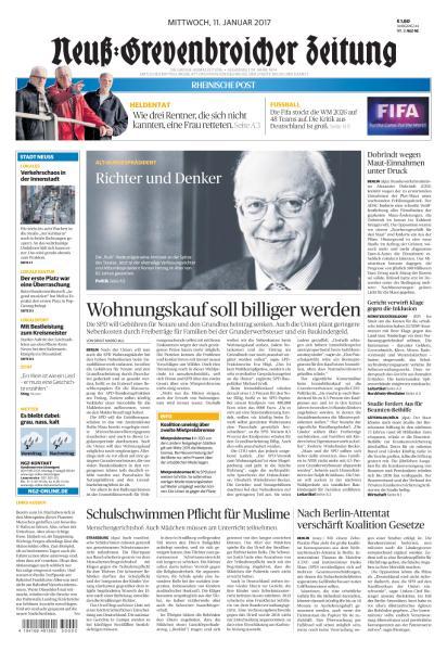 Cover: Neuss Grevenbroicher Zeitung 11 Januar 2017
