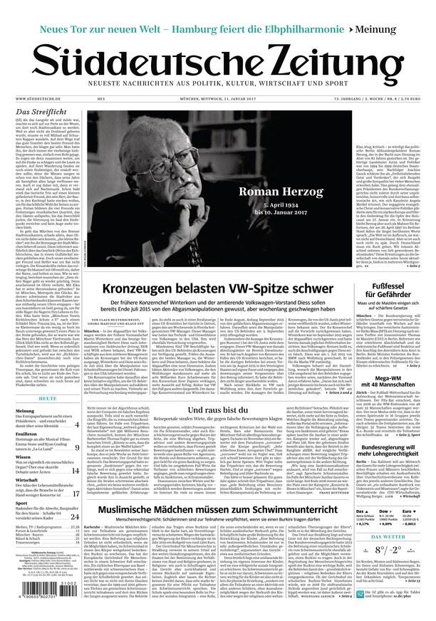 Cover: Sueddeutsche Zeitung 11 Januar 2017