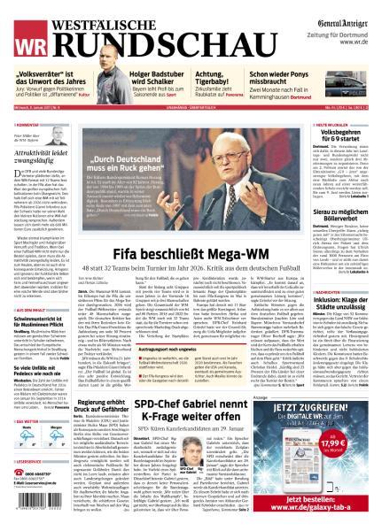 Cover: Westfaelische Rundschau 11 Januar 2017