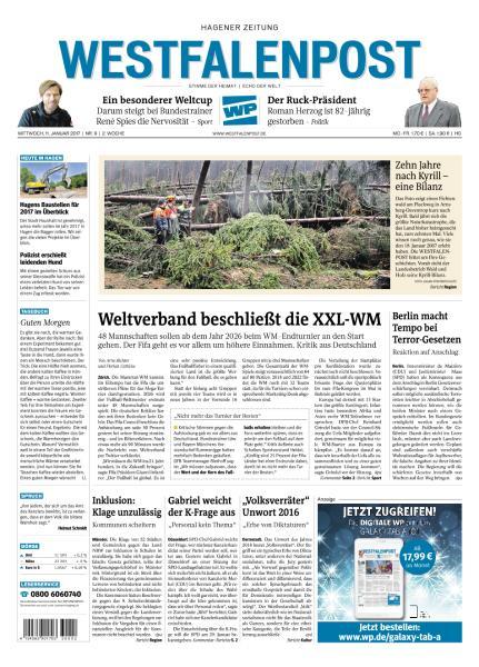 Cover: Westfalenpost 11 Januar 2017