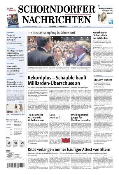 Cover: Schorndorfer Nachrichten 11 Januar 2017