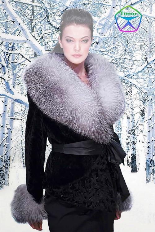 Женский шаблон для фотошопа - Леди зима