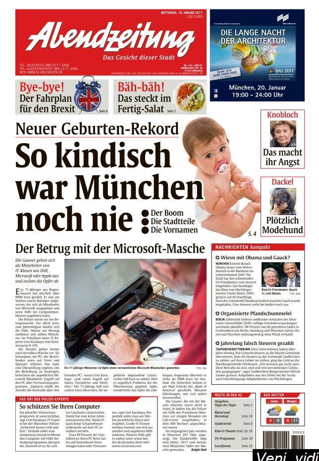 Abendzeitung Muenchen 18 Januar 2017