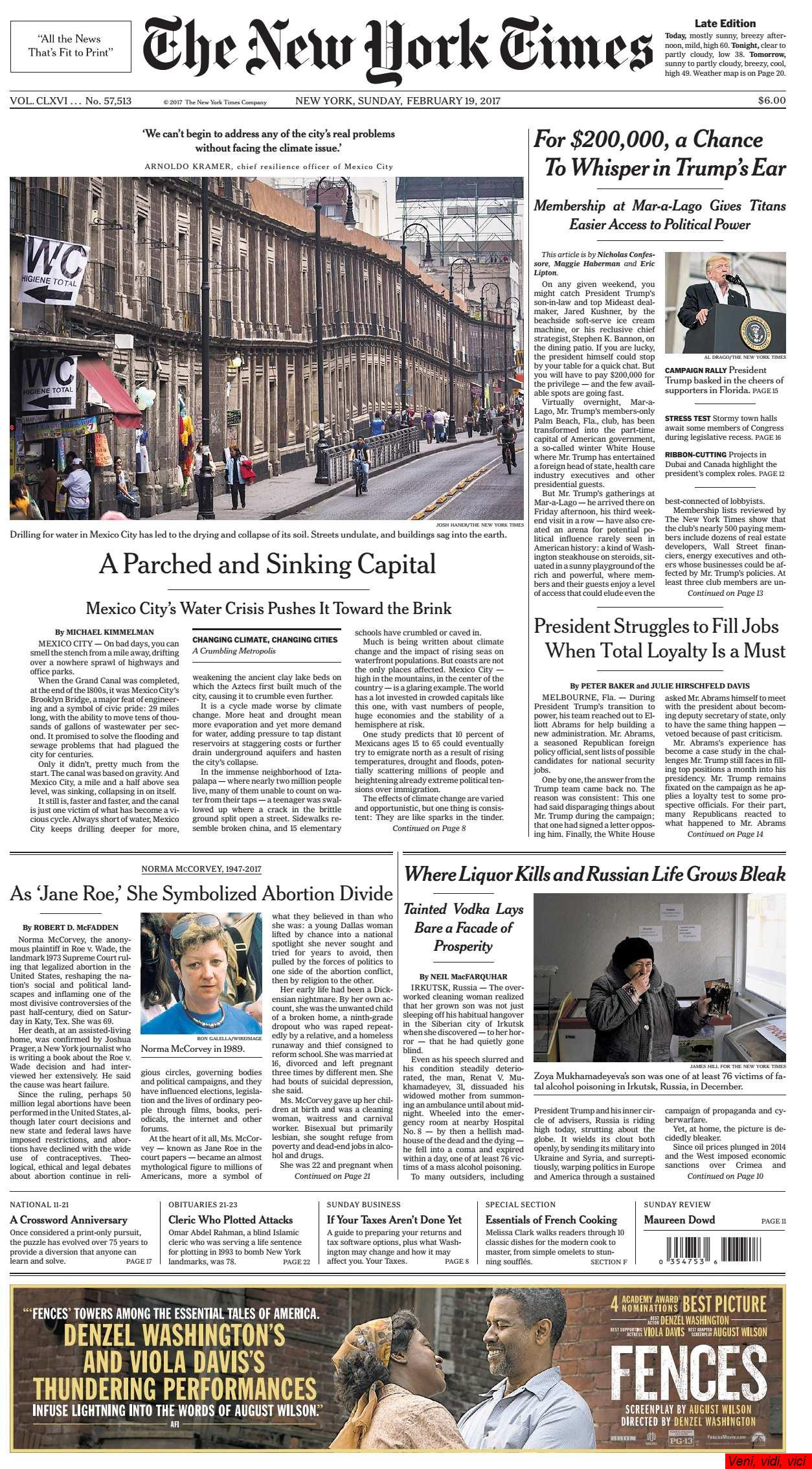The New York Times February 19 2017