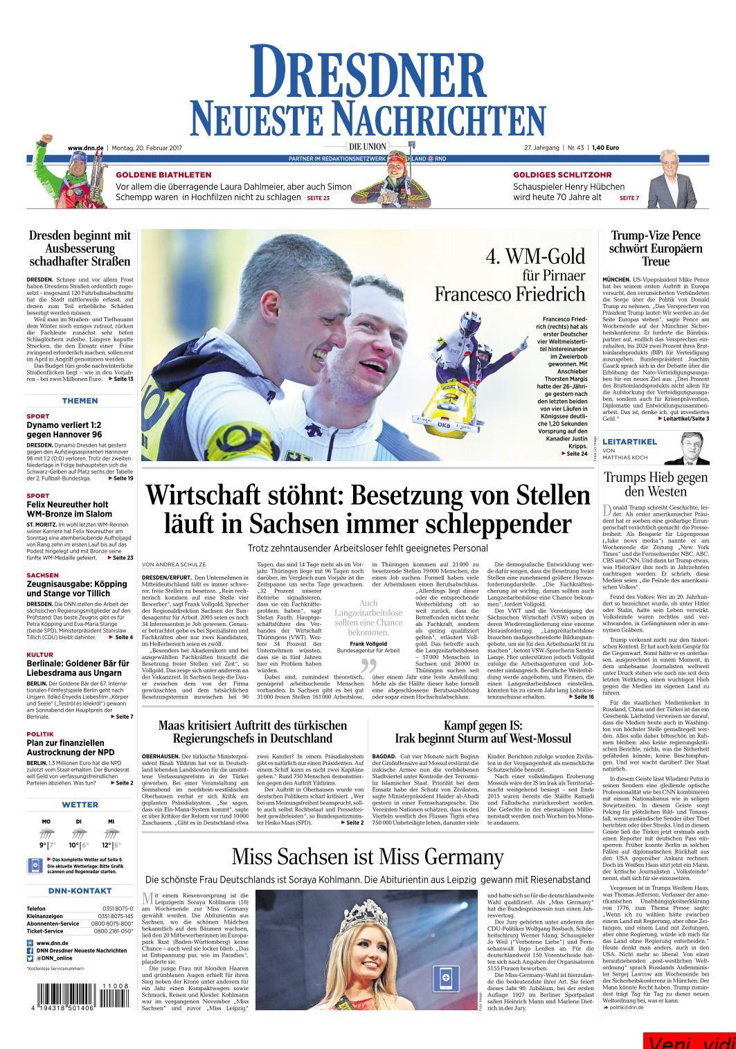 Dresdner Neueste Nachrichten 20 Februar 2017