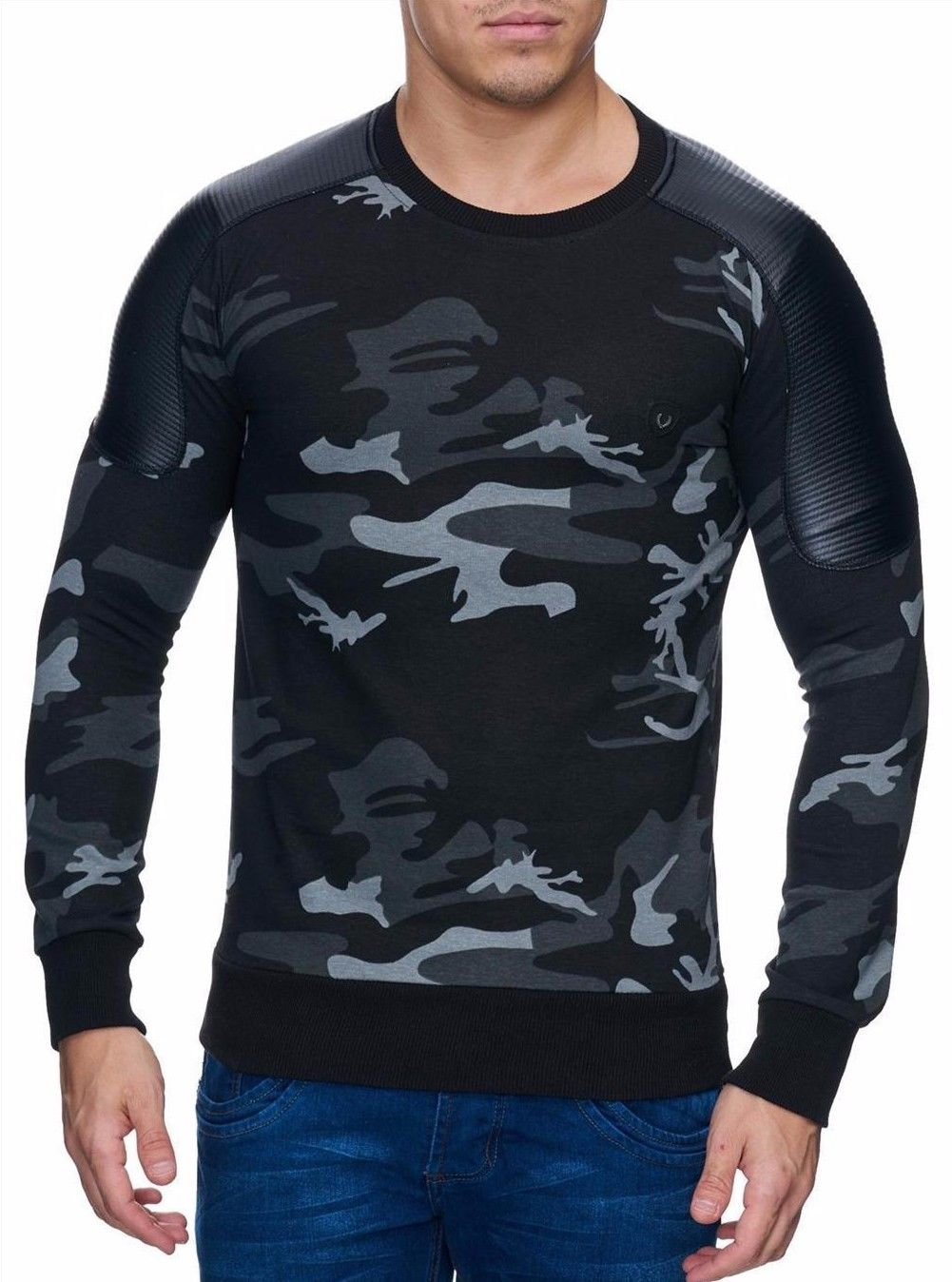 herren sweatshirt camouflage pullover sweater longshirt. Black Bedroom Furniture Sets. Home Design Ideas