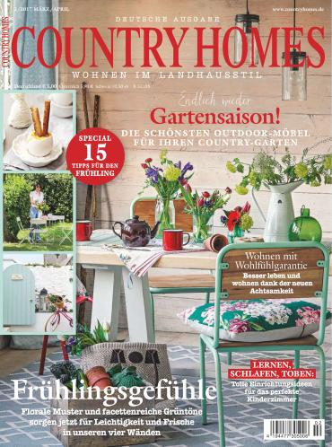 country homes wohnen im landhausstil deutsche ausgabe magazin jahresthema 2017. Black Bedroom Furniture Sets. Home Design Ideas