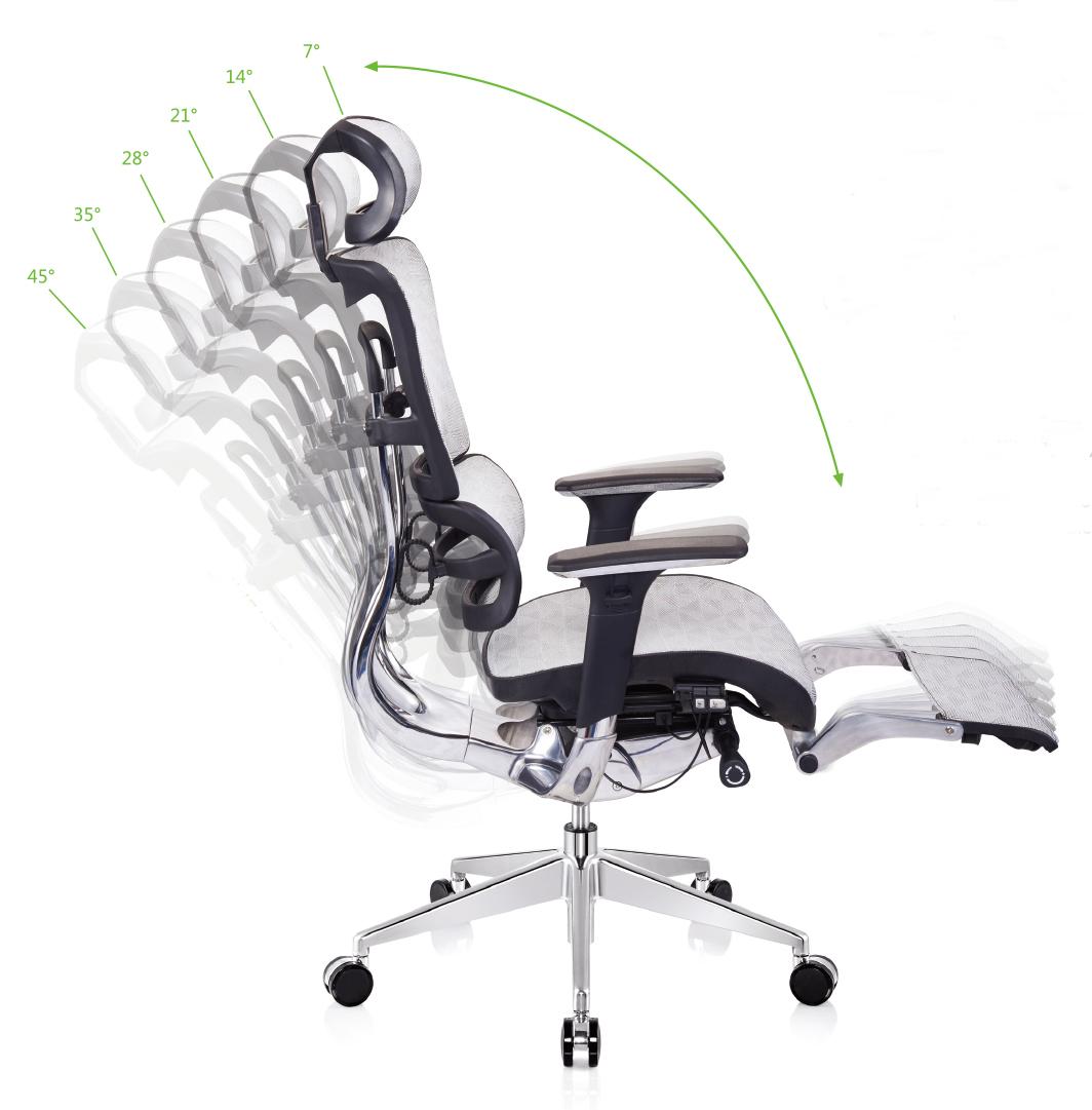 Bürostuhl ergonomisch einstellen  BÜROSTUHL GRAU SCHREIBTISCHSTUHL DREHSTUHL DREHSESSEL CHEFSESSEL ...