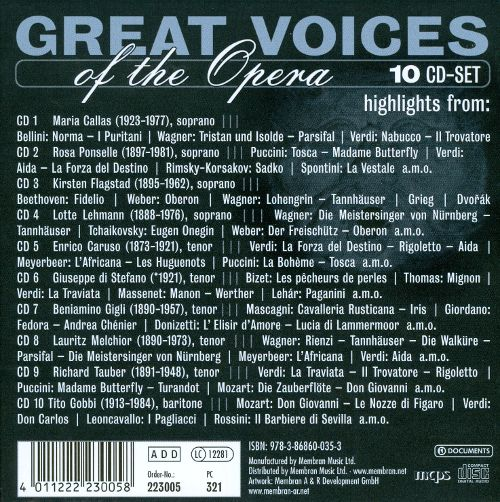 VA Great Voices of the Opera 10 CD s 2005
