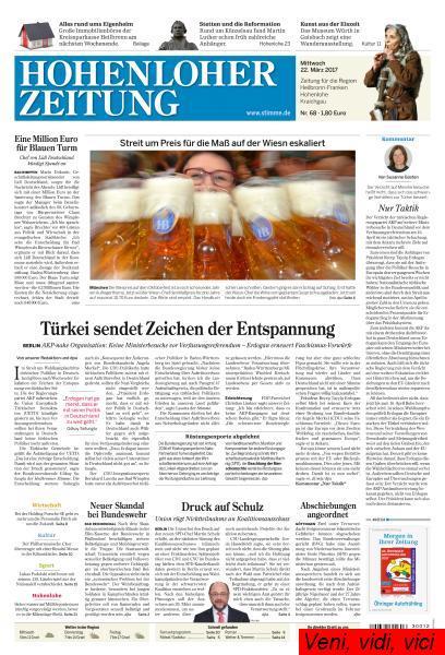 Hohenloher Zeitung 22 Maerz 2017