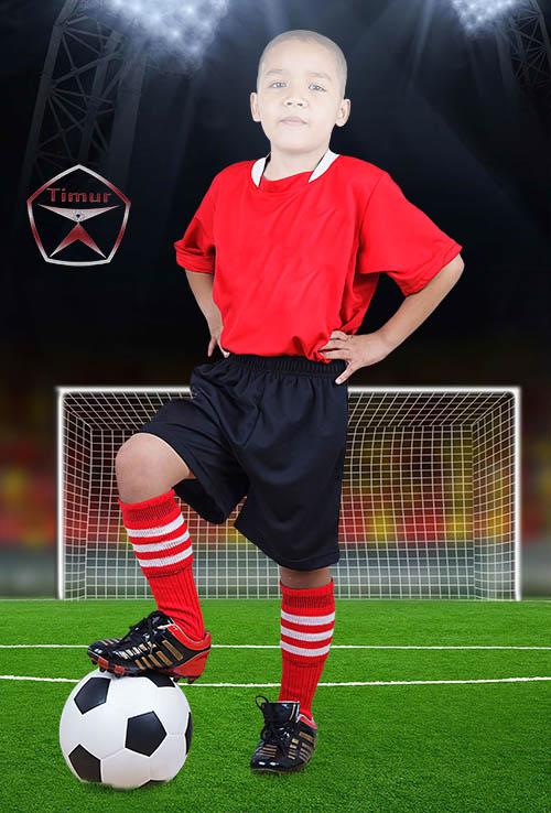 Детский шаблон для фотошопа - Футболист