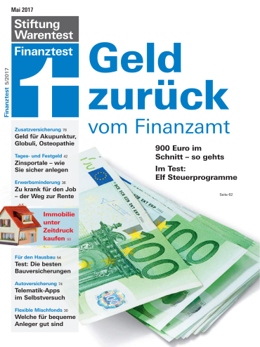 Cover: Stiftung Warentest Finanztest Magazin Mai No 05 2017
