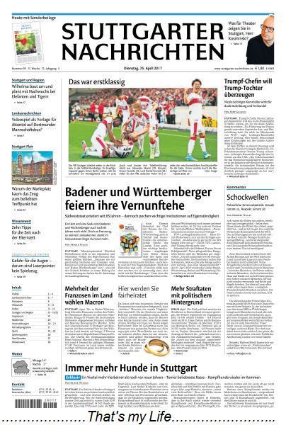 Stuttgarter Nachrichten 25 April 2017