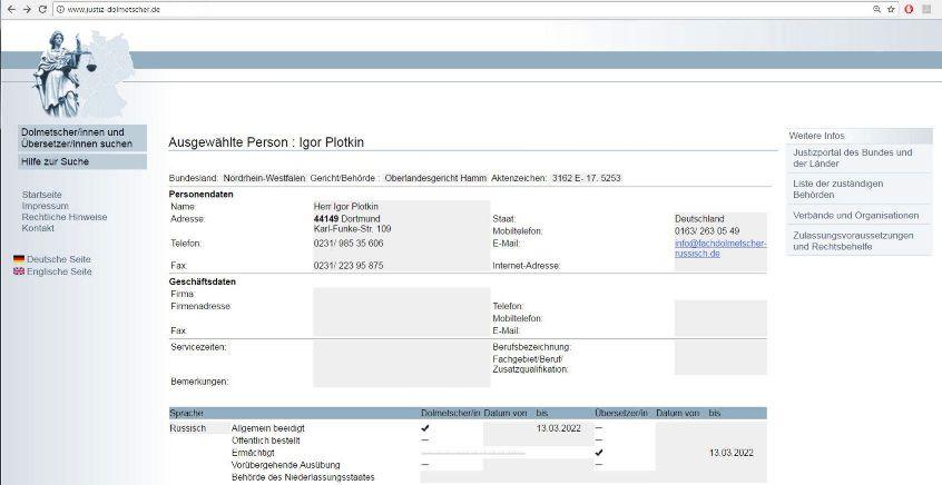 Dolmetscher, Übersetzer und Texter für Russisch-Igor Plotkin-Dortmund