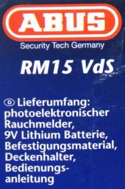 5 x rauchmelder abus rm15 vds mit lithium batterie. Black Bedroom Furniture Sets. Home Design Ideas
