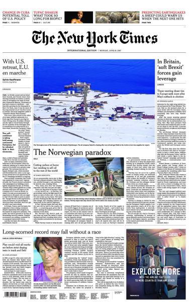 : International New York Times 19 June 2017