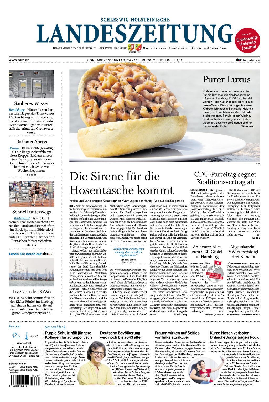 Schleswig Holsteinische Landeszeitung 24 Juni 2017
