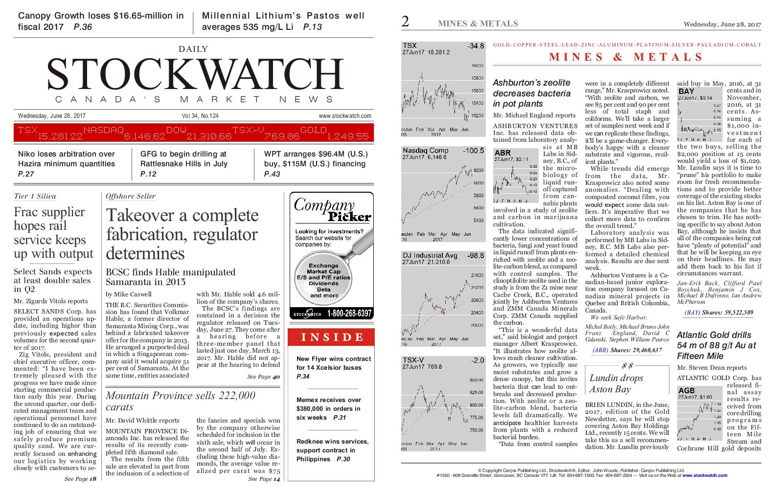 Stockwatch Canada Daily June 28 2017