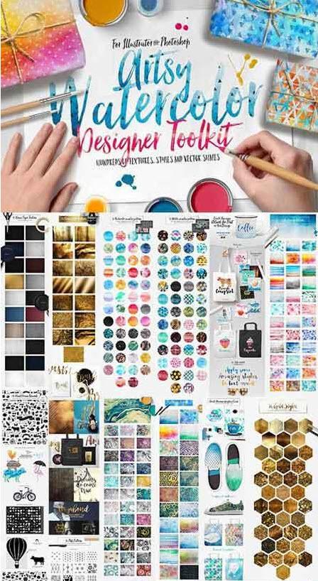 CreativeMarket Artsy Watercolor Designer Toolkit