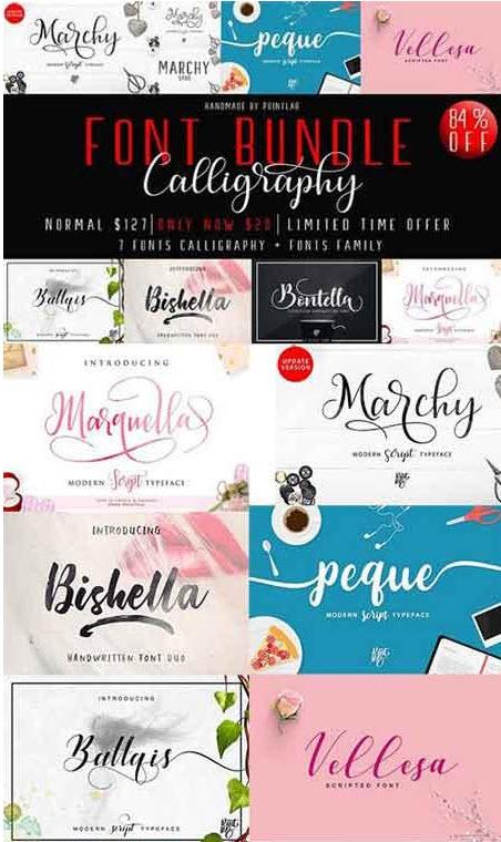CreativeMarket Font Bundle Calligrapy