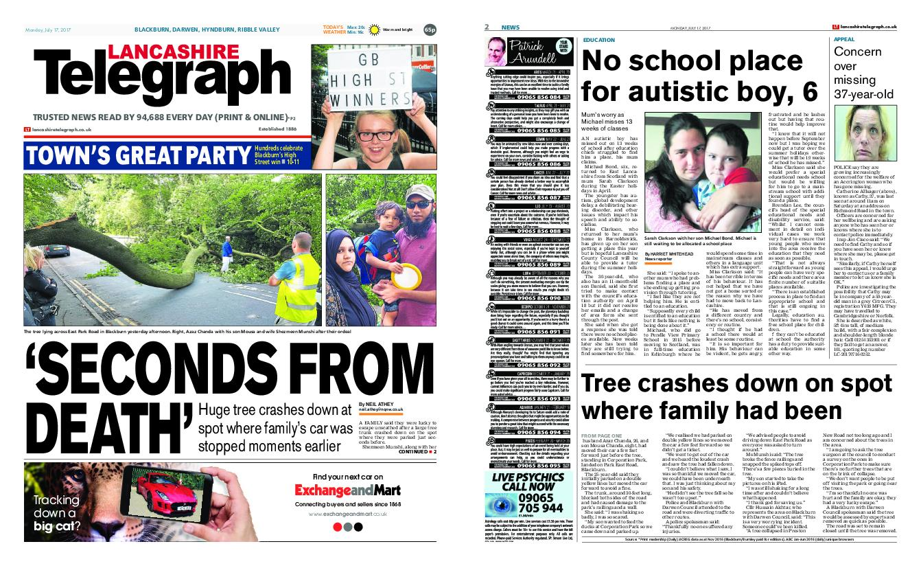 : Lancashire Telegraph Blackburn Darwen Hyndburn Ribble Valley July 17 2017