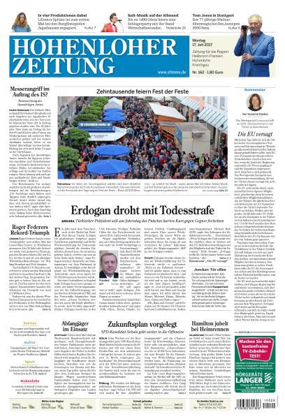: Hohenloher Zeitung 17 Juli 2017
