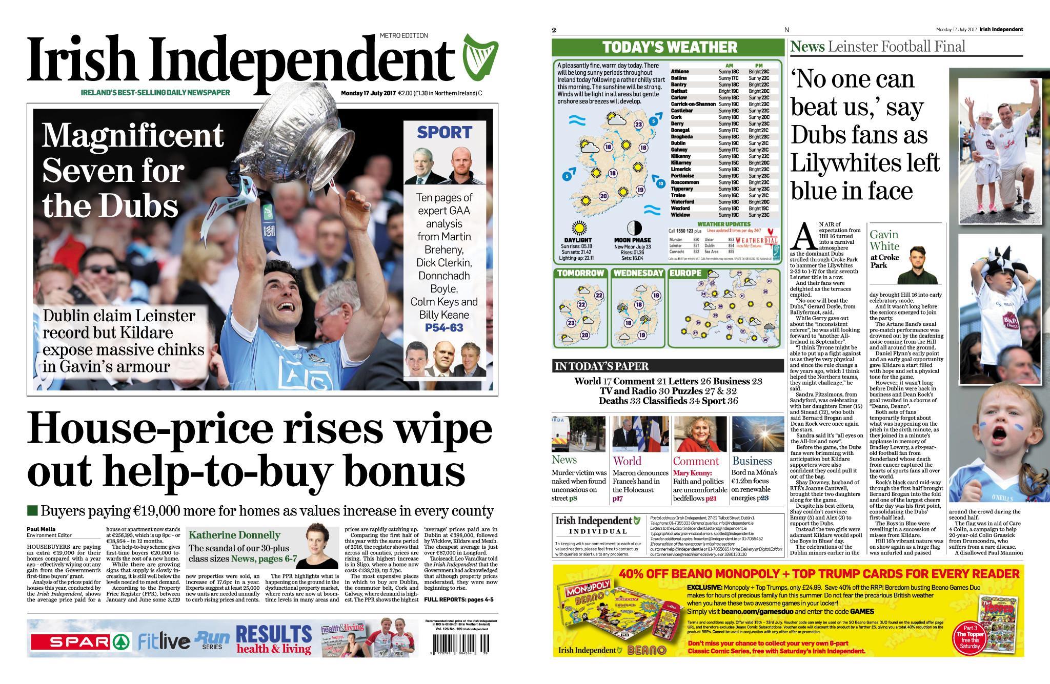: Irish Independent July 17 2017