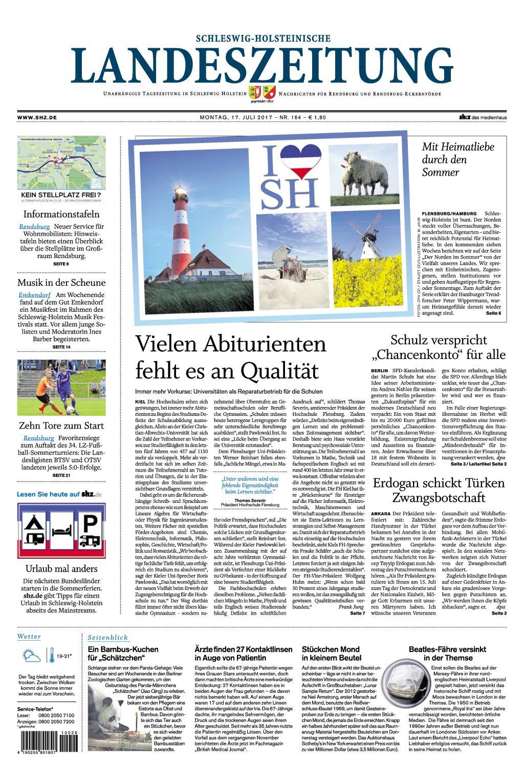 : Schleswig Holsteinische Landeszeitung 17 Juli 2017