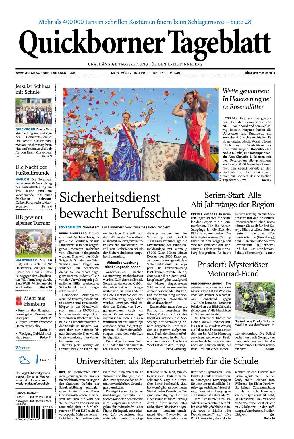 : Quickborner Tageblatt 17 Juli 2017