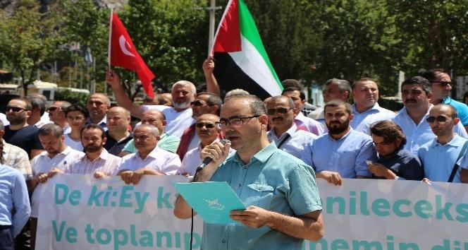 Amasyalılardan İsrail'e Mescid-i Aksa protestosu