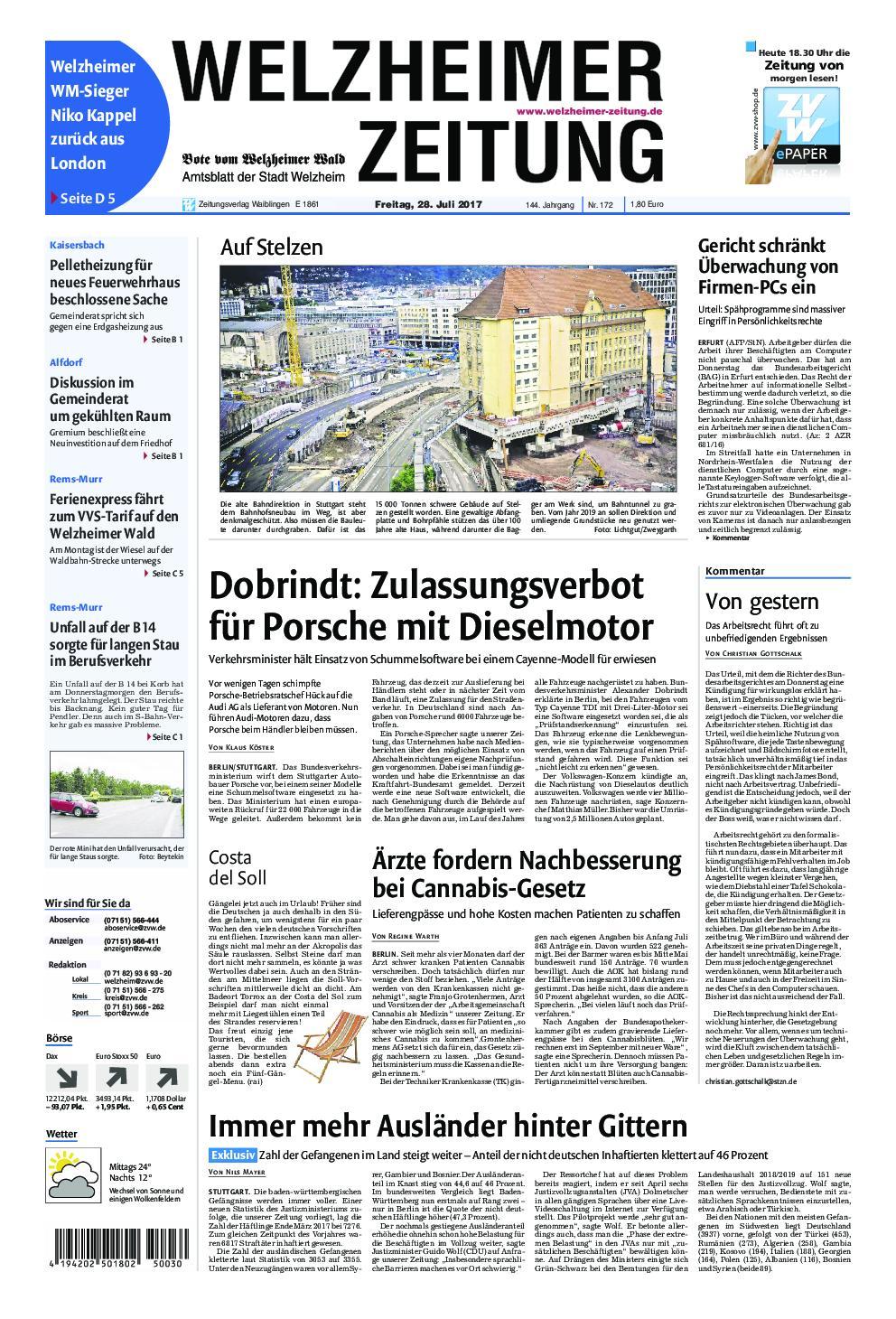 Welzheimer Zeitung 28 Juli 2017