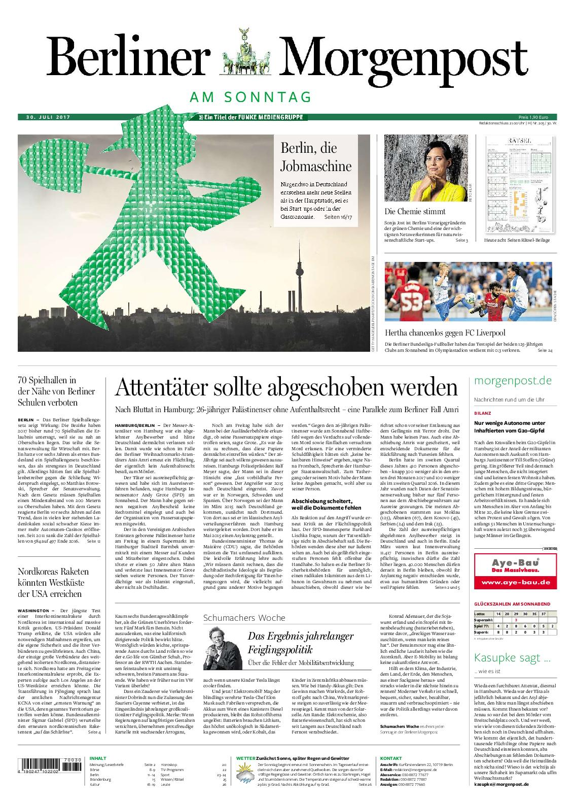 Berliner Morgenpost 30 Juli 2017