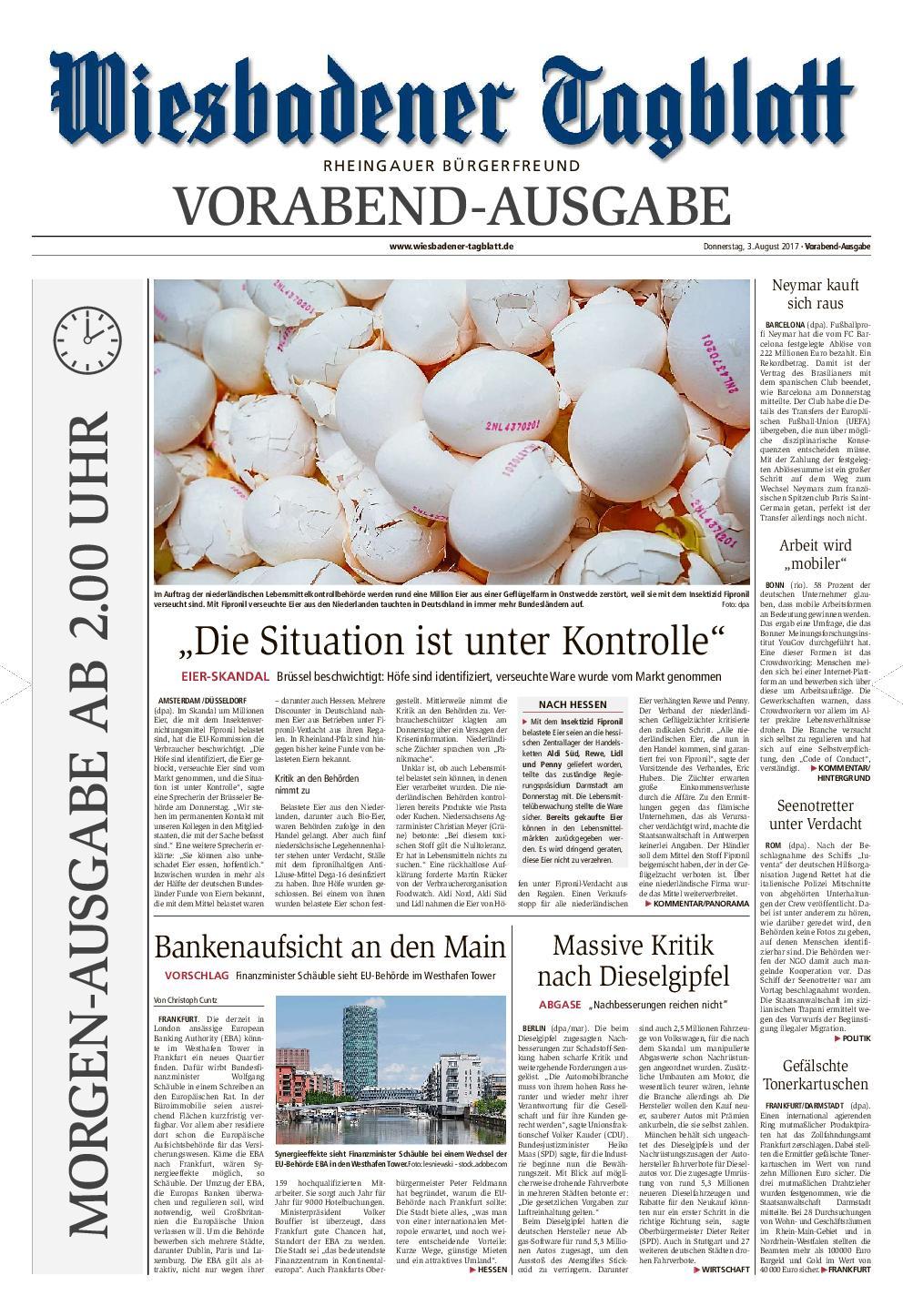 Wiesbadener Tagblatt Rheingau 04 August 2017