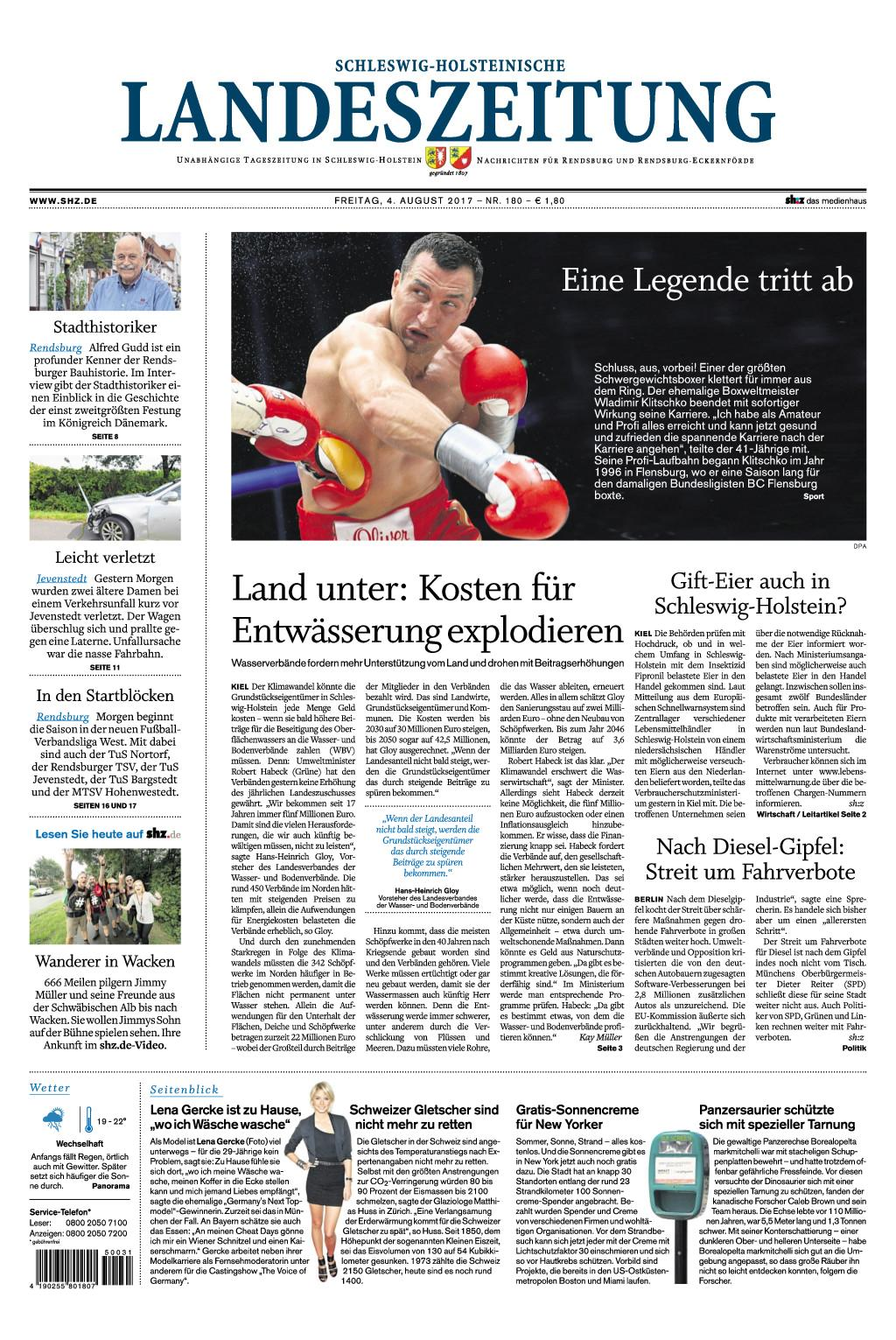 Schleswig Holsteinische Landeszeitung 04 August 2017