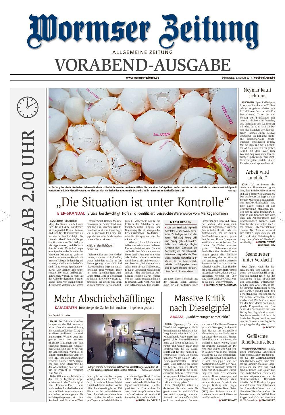 Wormser Zeitung 04 August 2017