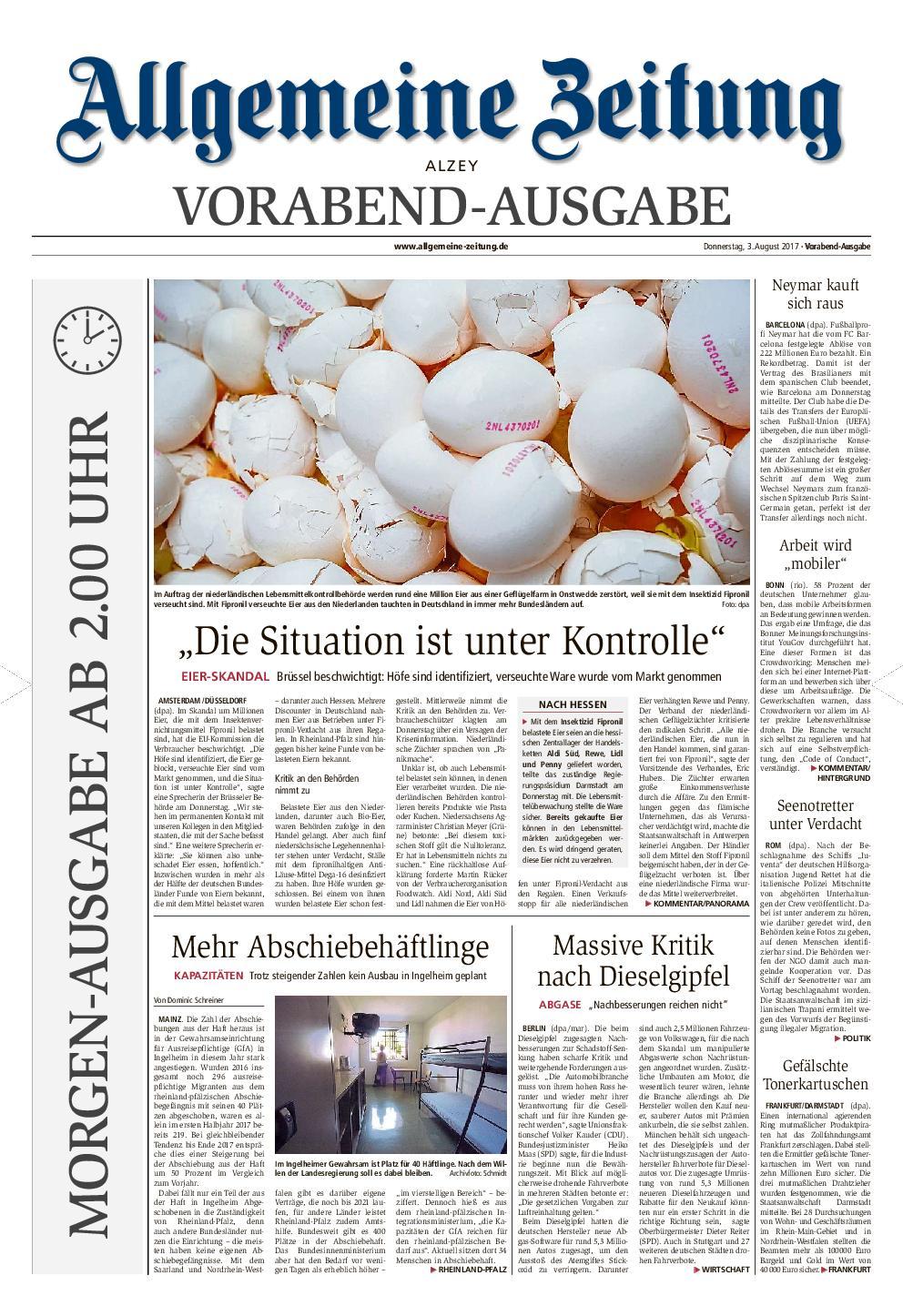 Allgemeine Zeitung Alzey 04 August 2017