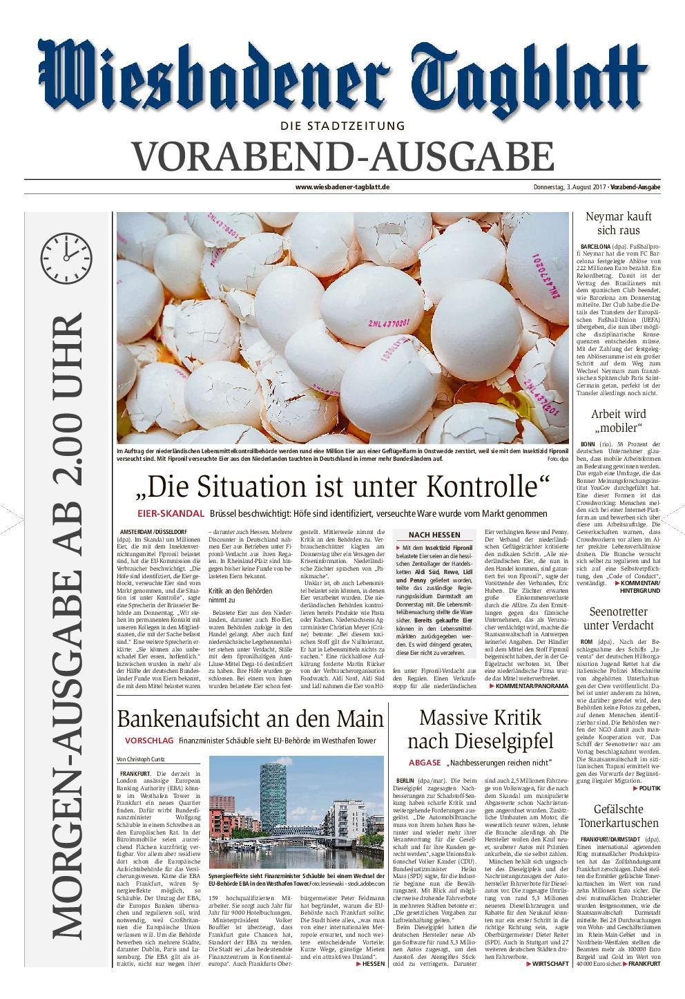 Wiesbadener Tagblatt Stadt 04 August 2017
