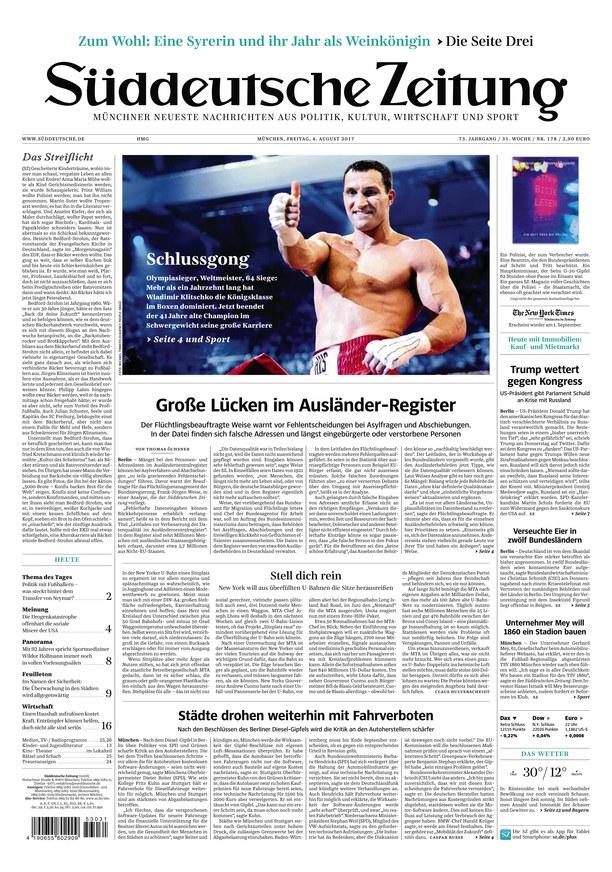 Sueddeutsche Zeitung 4 August 2017