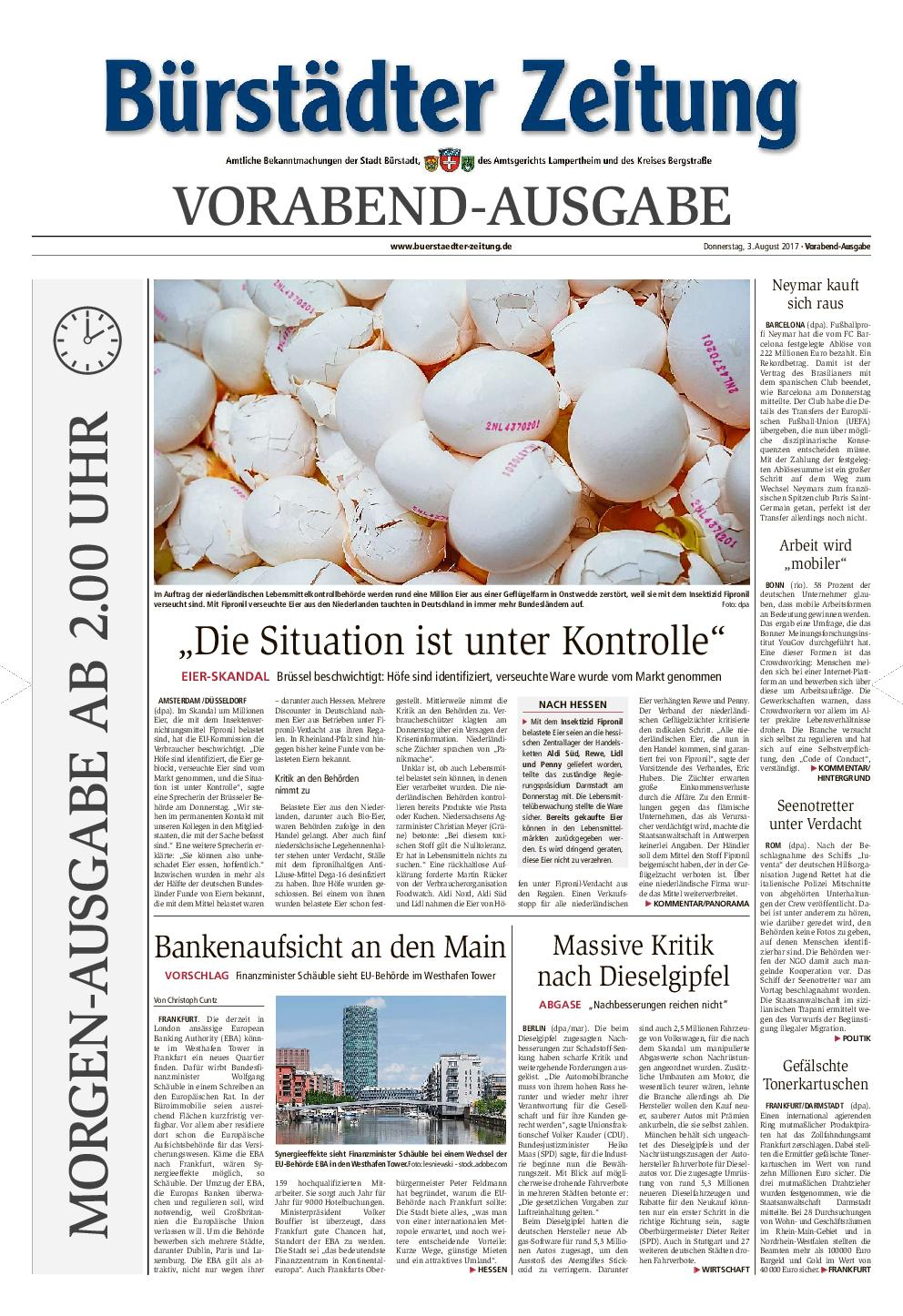 Buerstaedter Zeitung 04 August 2017