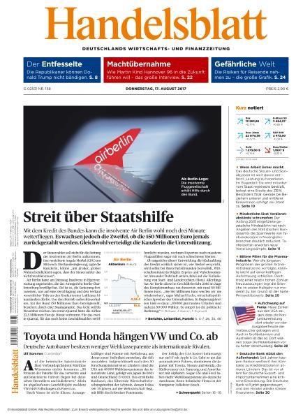 Handelsblatt 17 August 2017