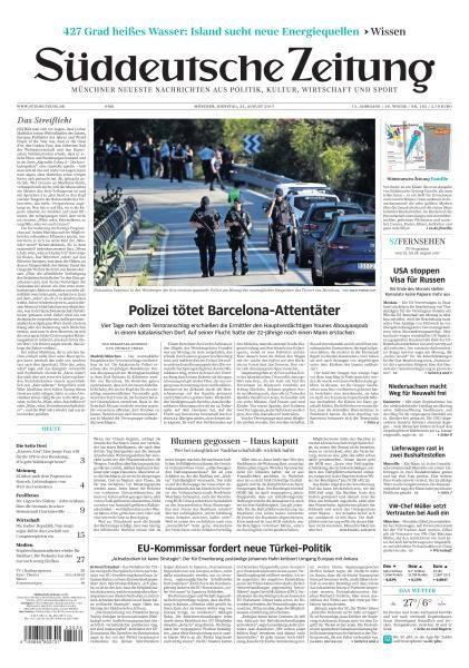 Sueddeutsche Zeitung 22 August 2017