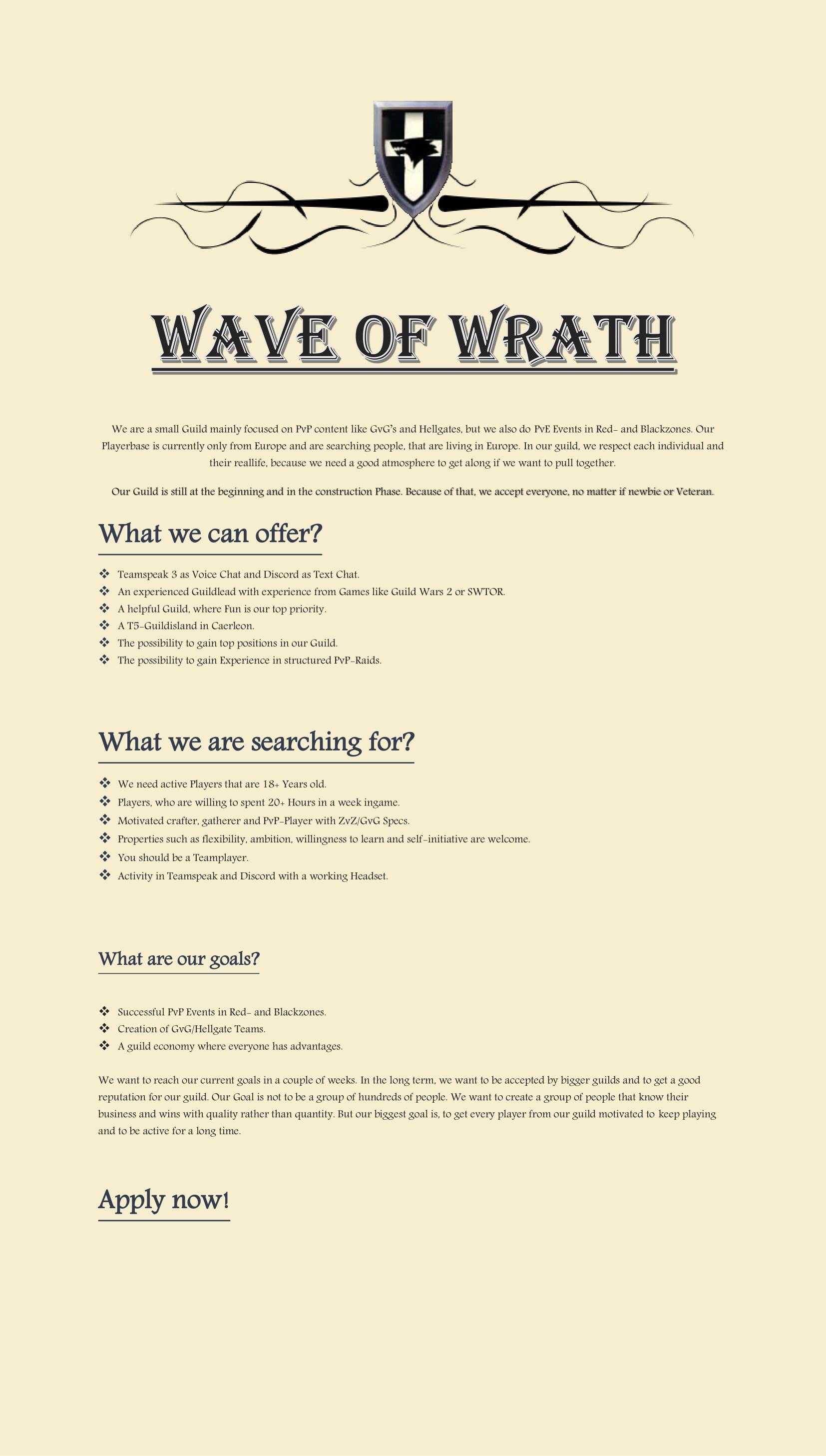 WaveOfWrath | EU | 18+ | Progress | PvP/HG - future GvG