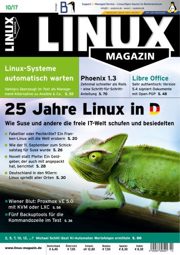 magazine for Linux Magazin Oktober No 10 2017