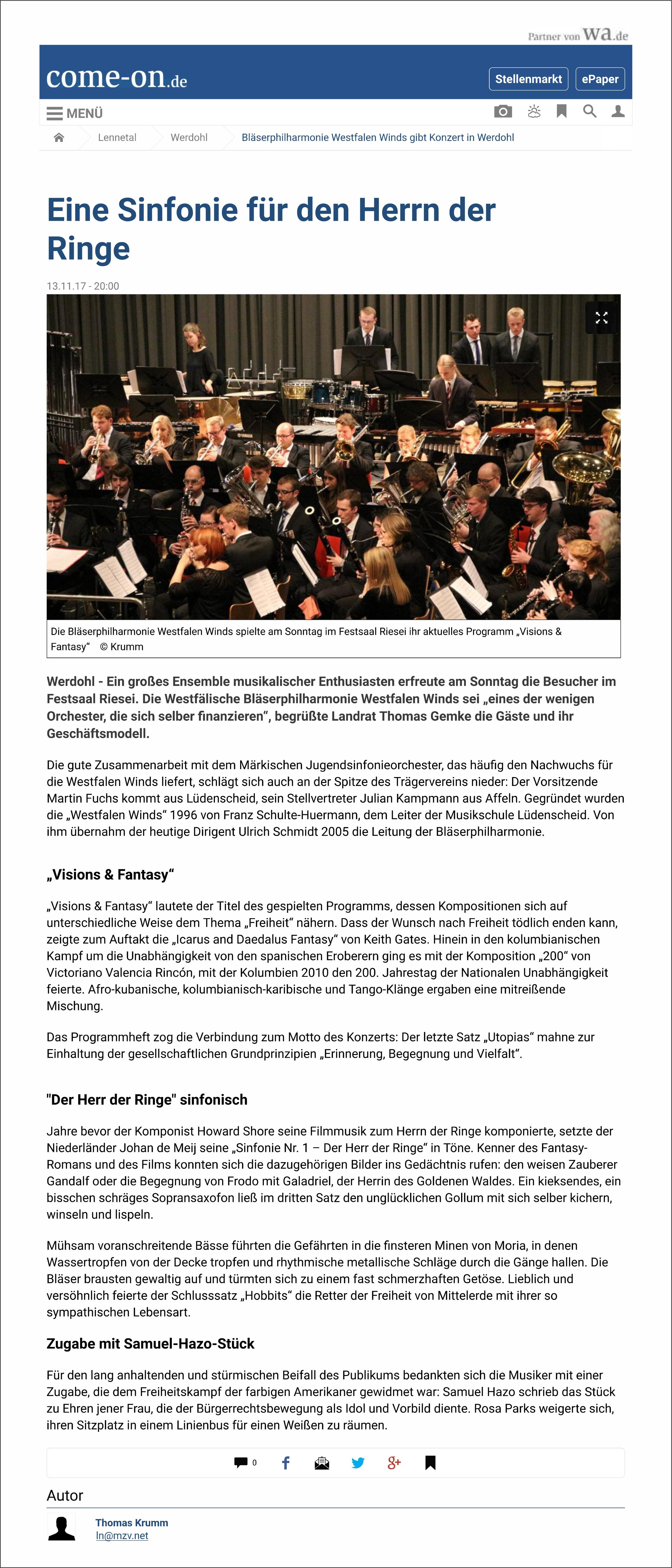 """Konzertkritik Galakonzert """"Außer-gewöhnlich!"""" 10.06.2017 SauerlandKurier"""