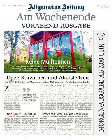 Allgemeine Zeitung Alzey 16 Dezember 2017