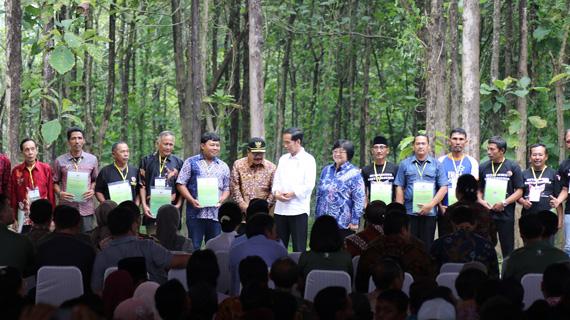 Pakde Karwo Dampingi Presiden Jokowi Bagikan SK Perhutanan Sosial di Tuban